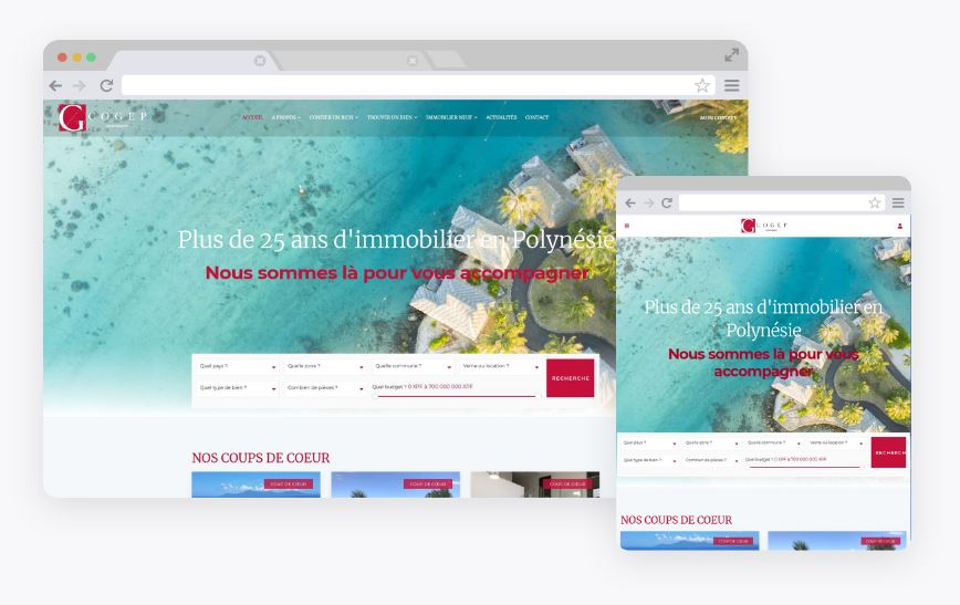 Création site immobilier Tahiti